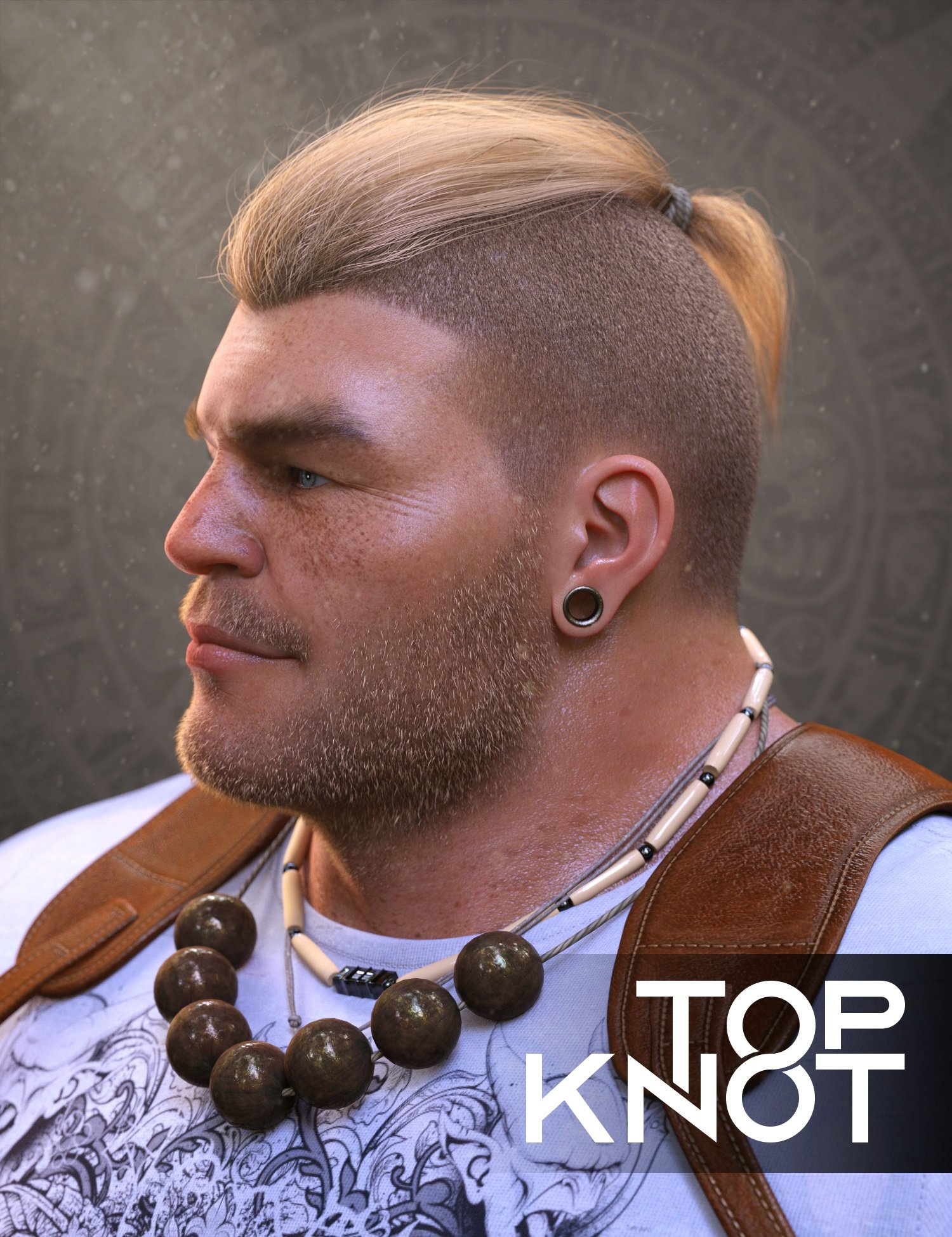 Top Knot Hair and Beard for Genesis 3 and 8 by: Soto, 3D Models by Daz 3D