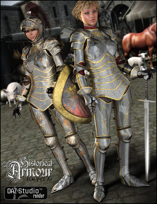 Historical Armor for V4 by: Arien, 3D Models by Daz 3D
