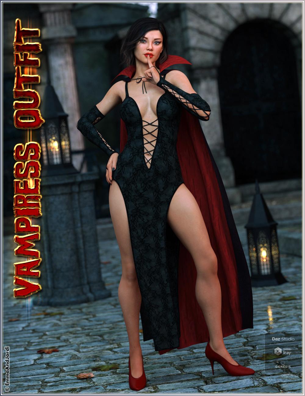 dForce Vampiress Outfit and Poses For Genesis 8 Female(s) by: EmmaAndJordi, 3D Models by Daz 3D