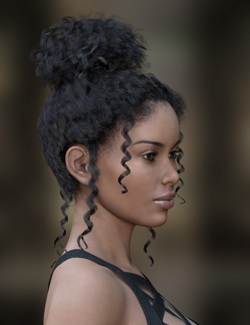 MRL dForce Curly Bun for Genesis 8 Female(s) by: Mihrelle, 3D Models by Daz 3D