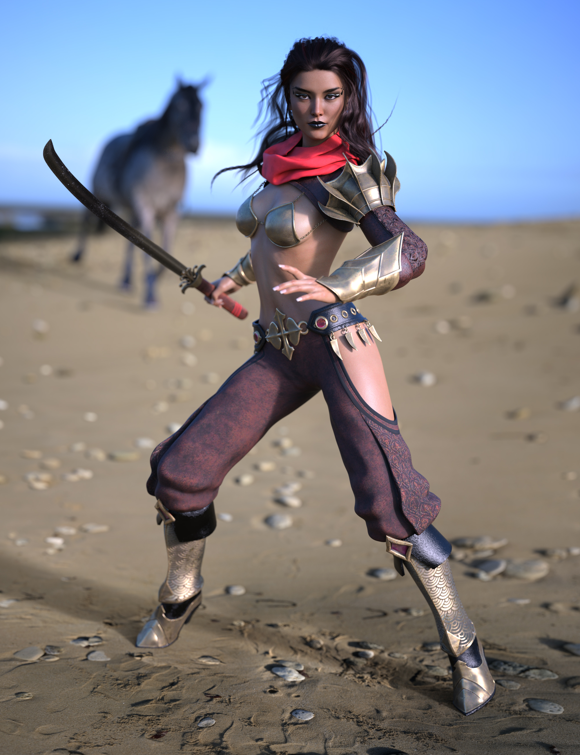 Eastern Warrior for Genesis 8 Female(s) by: Bluebird 3dMoonscape GraphicsRavenhairSade, 3D Models by Daz 3D