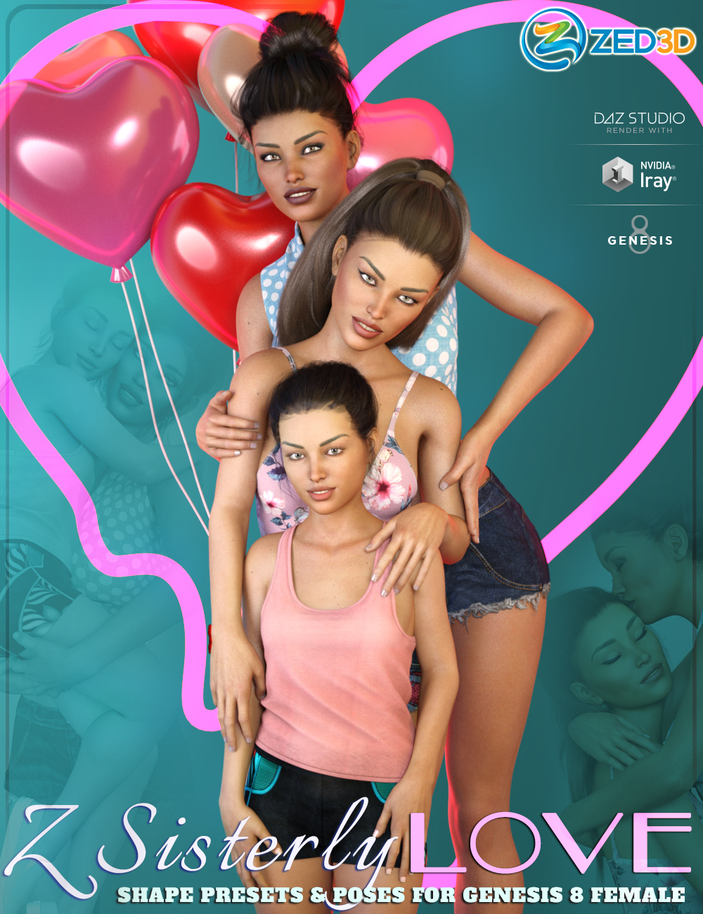 Z Sisterly Love Shape Presets and Poses for Genesis 8 Female by: Zeddicuss, 3D Models by Daz 3D