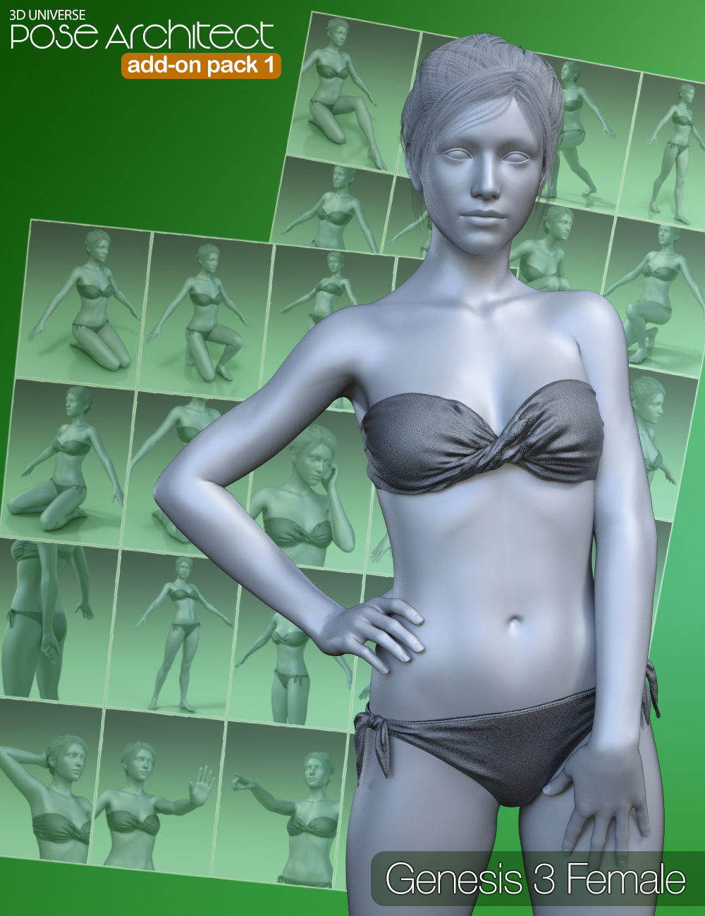 Pose Architect Add-on Pack 1 for Genesis 3 Female(s) by: 3D Universe, 3D Models by Daz 3D
