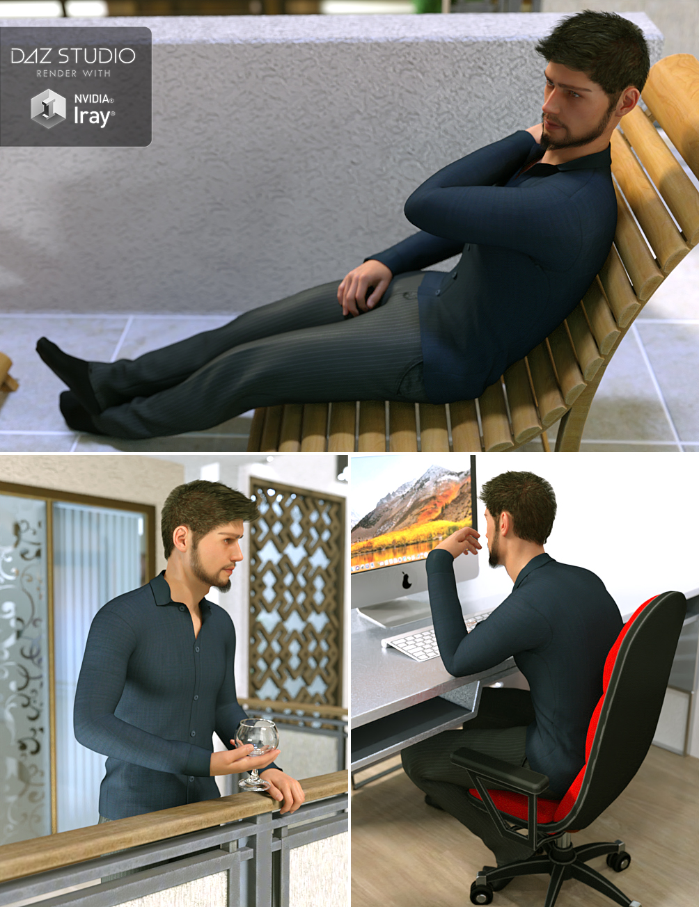 Hearth & Home for Genesis 8 Male by: Three Wishes, 3D Models by Daz 3D