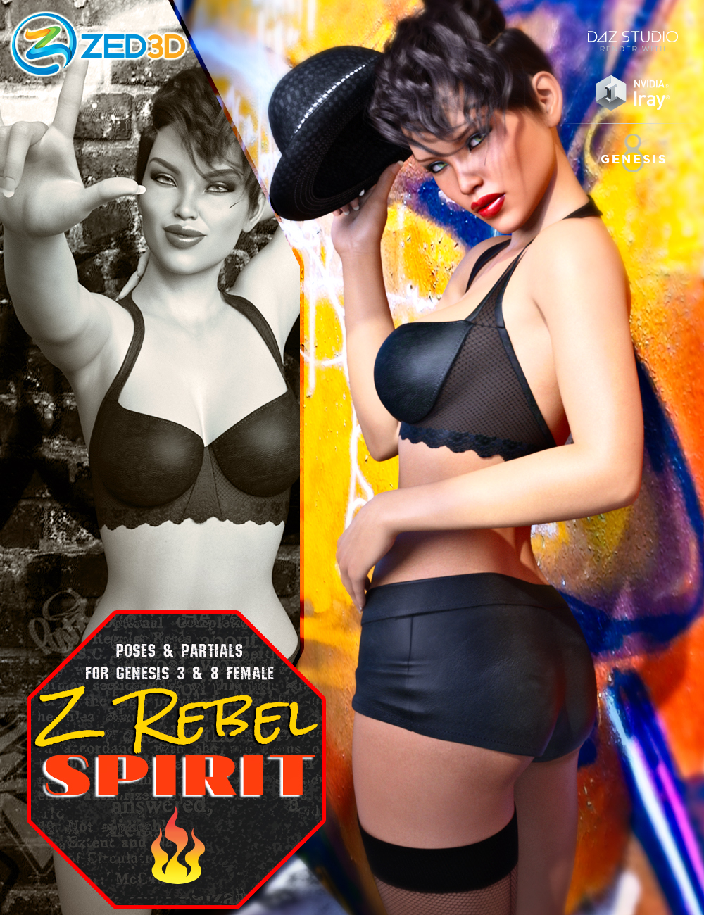 Z Rebel Spirit Poses and Partials for Genesis 3 and 8 Female by: Zeddicuss, 3D Models by Daz 3D