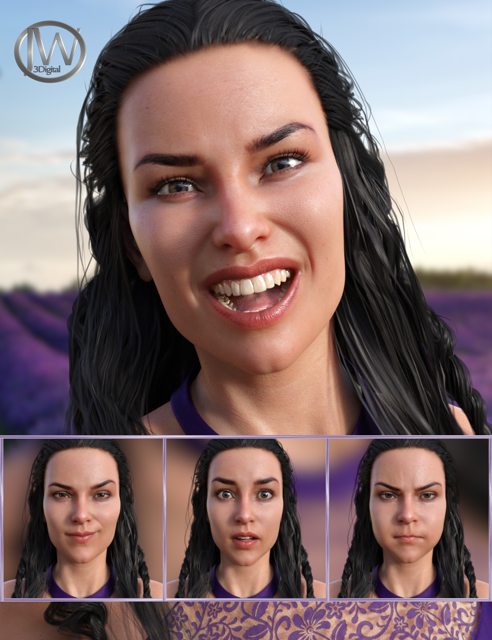 Energetic Life Expressions for Genesis 8 Female and Babina 8 by: JWolf, 3D Models by Daz 3D