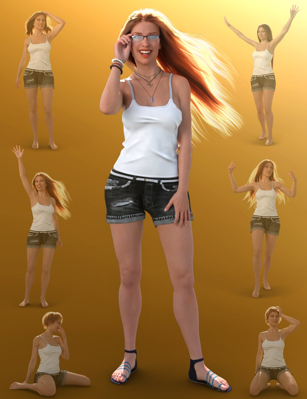 Summer Girl Poses for Babina 8 by: Quixotry, 3D Models by Daz 3D