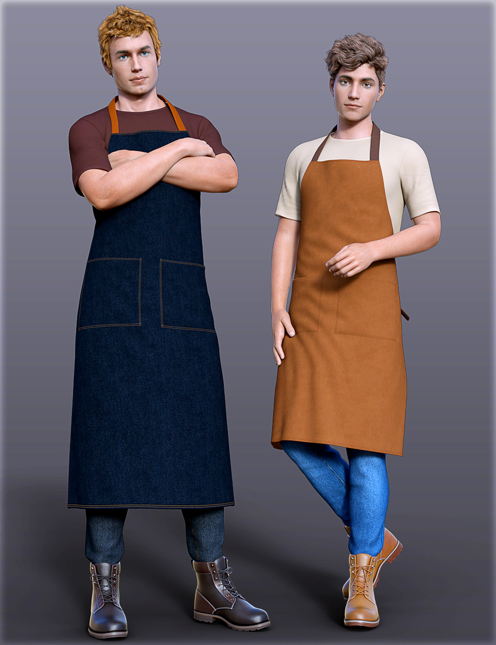 dForce H&C Apron and Casual Outfit for Genesis 8 Male(s) by: IH Kang, 3D Models by Daz 3D