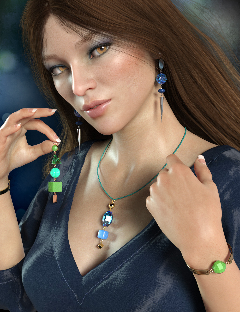 Multi-style Jewelry for Genesis 8 Female(s) by: esha, 3D Models by Daz 3D
