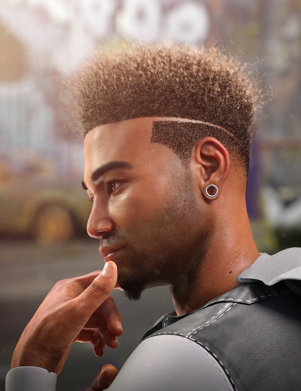 Afro Fade Hair for Genesis 3 and 8 by: Soto, 3D Models by Daz 3D