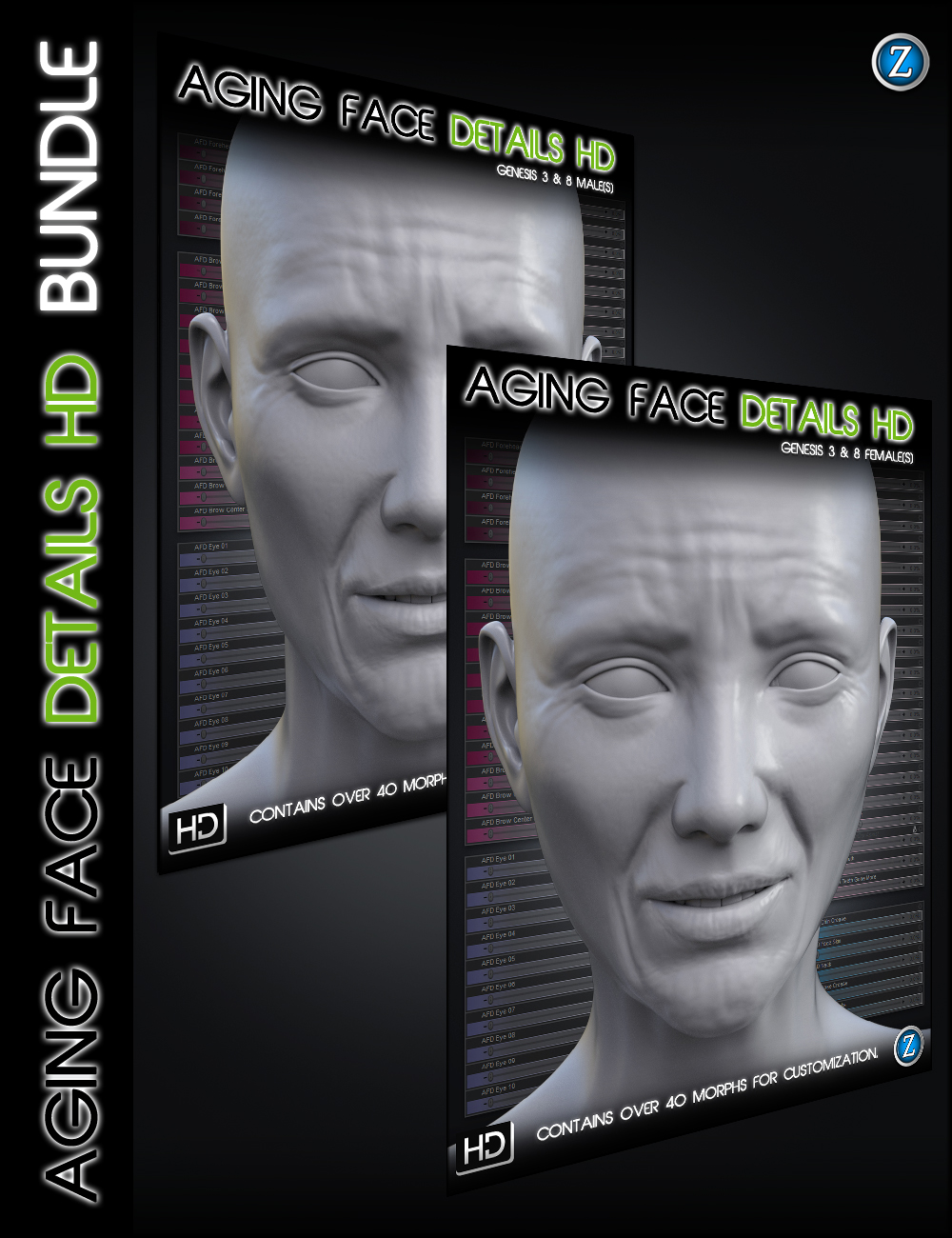 Aging Face Details HD for Genesis 3 and 8 Bundle by: Zev0, 3D Models by Daz 3D