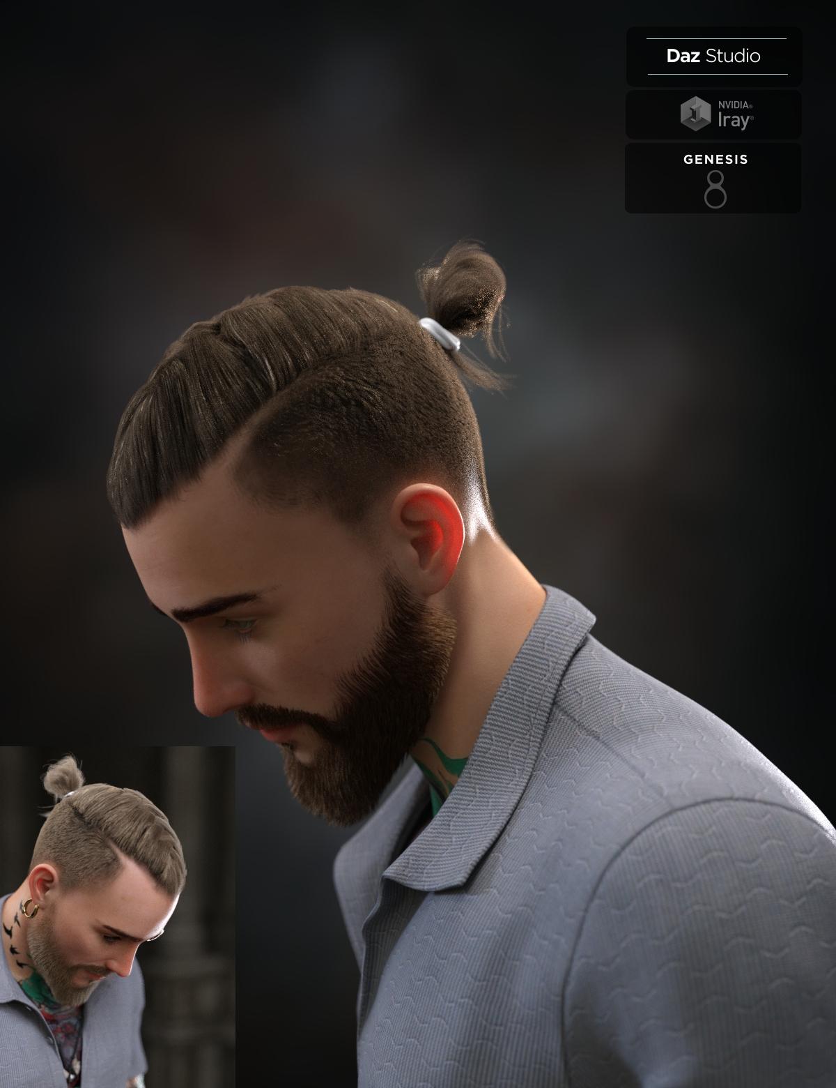 Koryan Top Braid Hair and Beard Set for Genesis 8 Male(s)