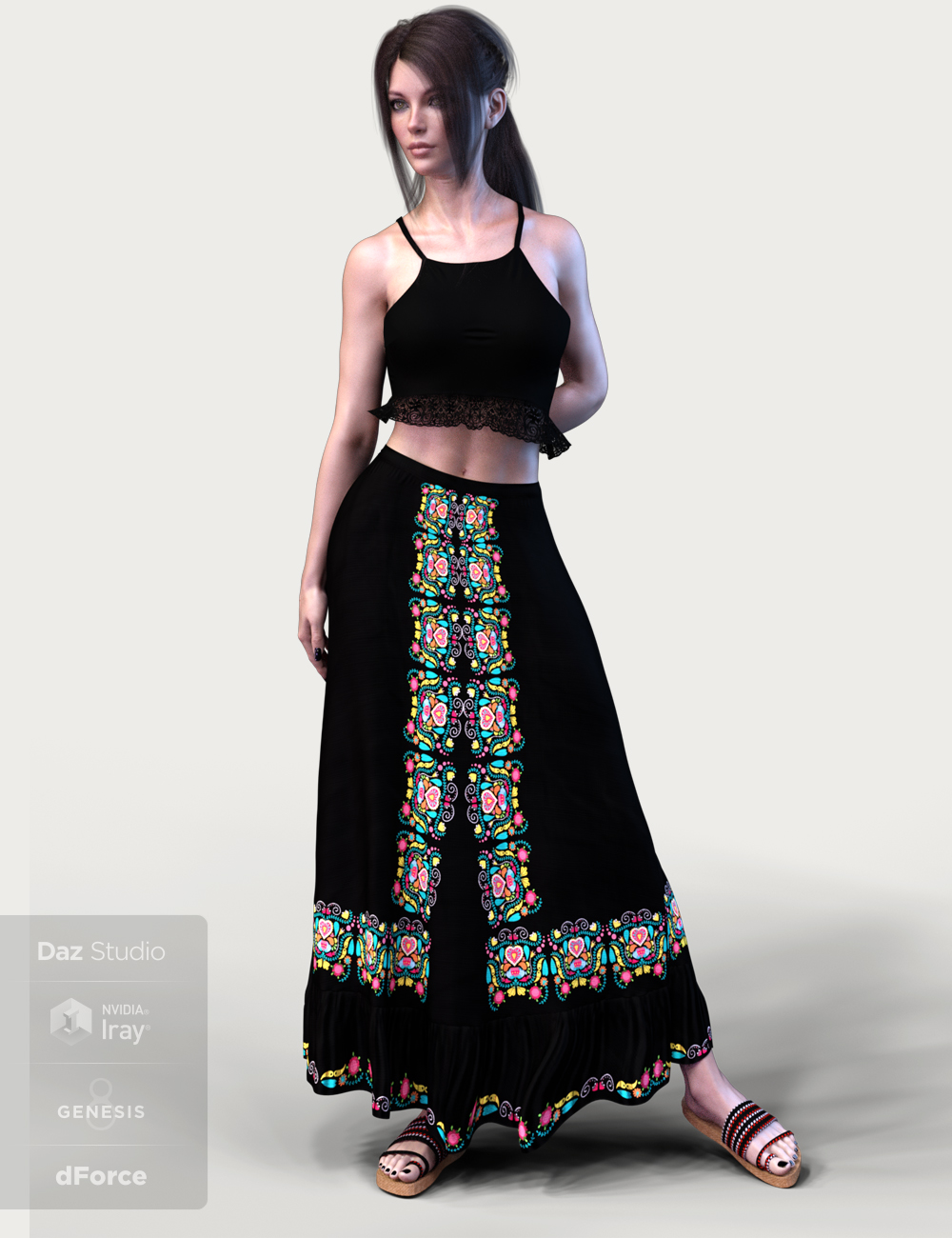 dForce X-Fashion Boho Chic Outfit 04 for Genesis 8 Female(s) by: xtrart-3d, 3D Models by Daz 3D