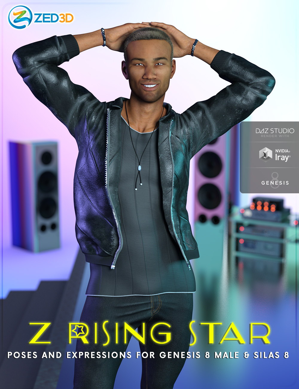 Z Rising Star Poses and Expressions for Genesis 8 Male and Silas 8 by: Zeddicuss, 3D Models by Daz 3D