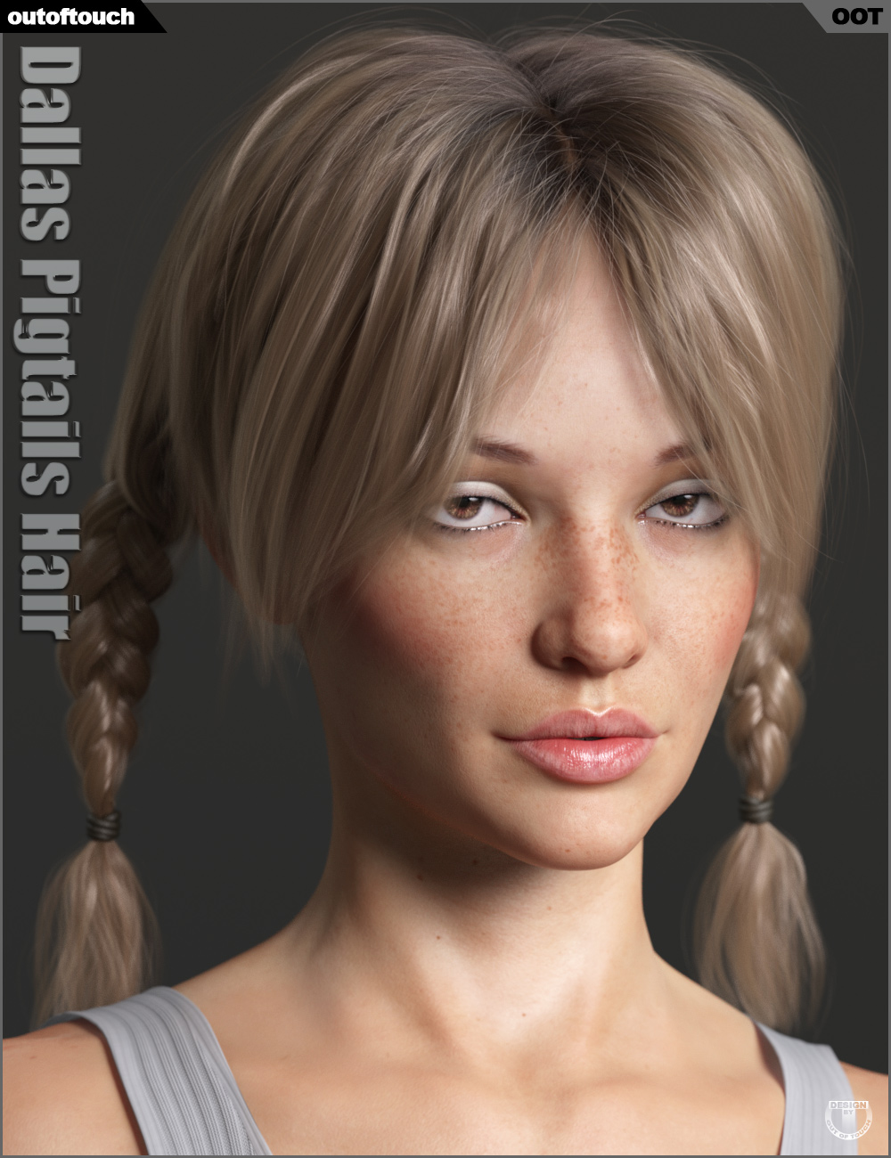 Dallas Pigtails Hair for Genesis 3 and 8 Female(s) by: outoftouch, 3D Models by Daz 3D