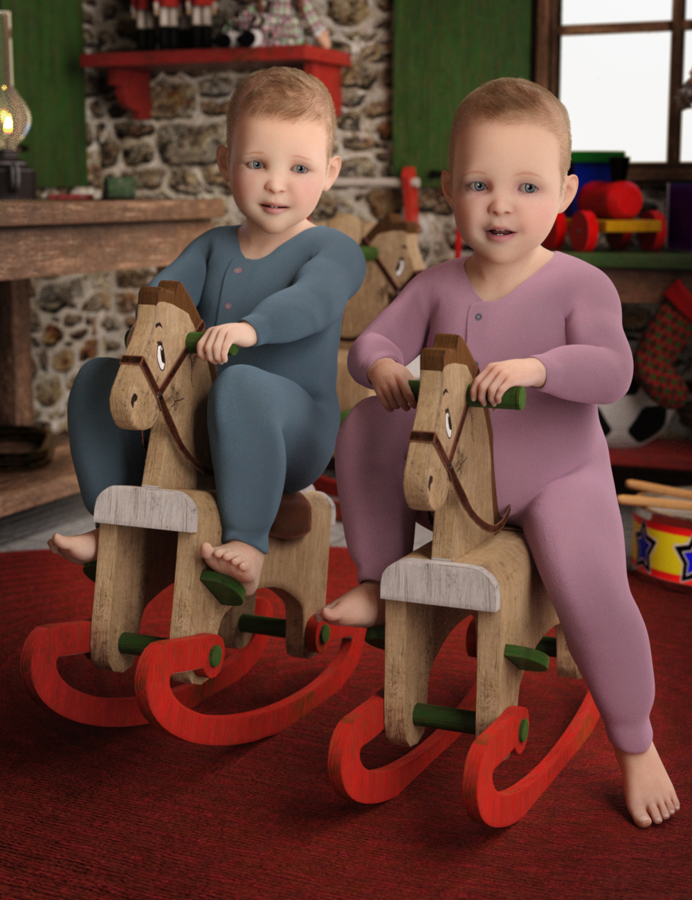 Toddler Twins For Genesis 8 by: Deepsea, 3D Models by Daz 3D