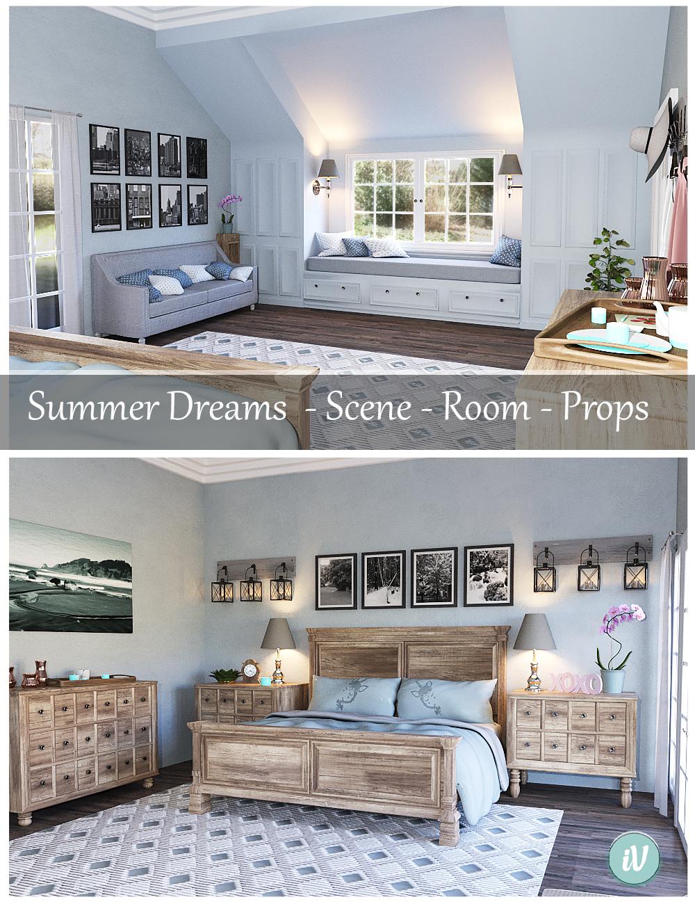iV Summer Dreams Bedroom by: i3D_LotusValery3D, 3D Models by Daz 3D