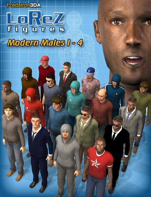 LoRez Figures - Modern Males by: Predatron, 3D Models by Daz 3D