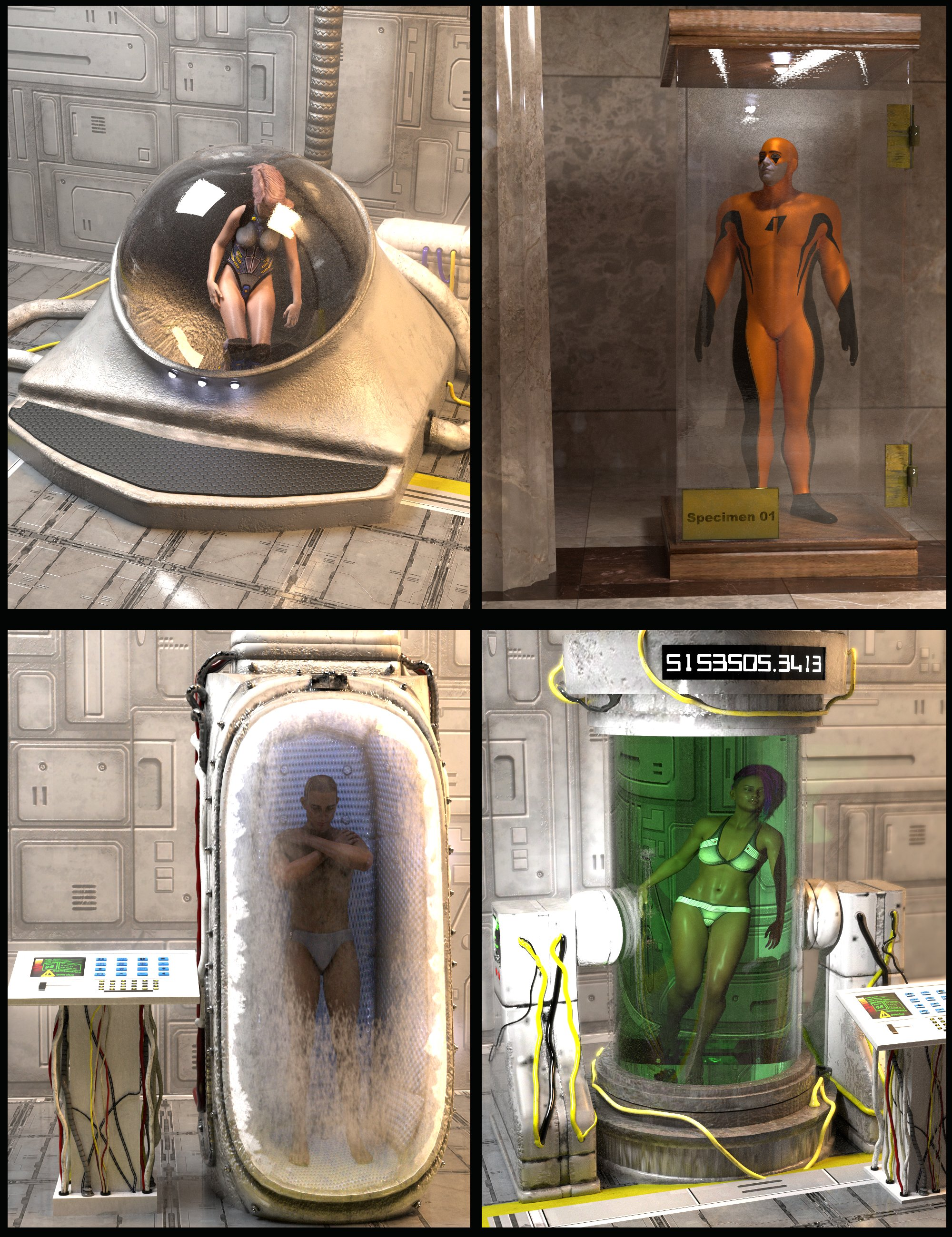 SY Pods Tanks and Human Containers by: Sickleyield, 3D Models by Daz 3D