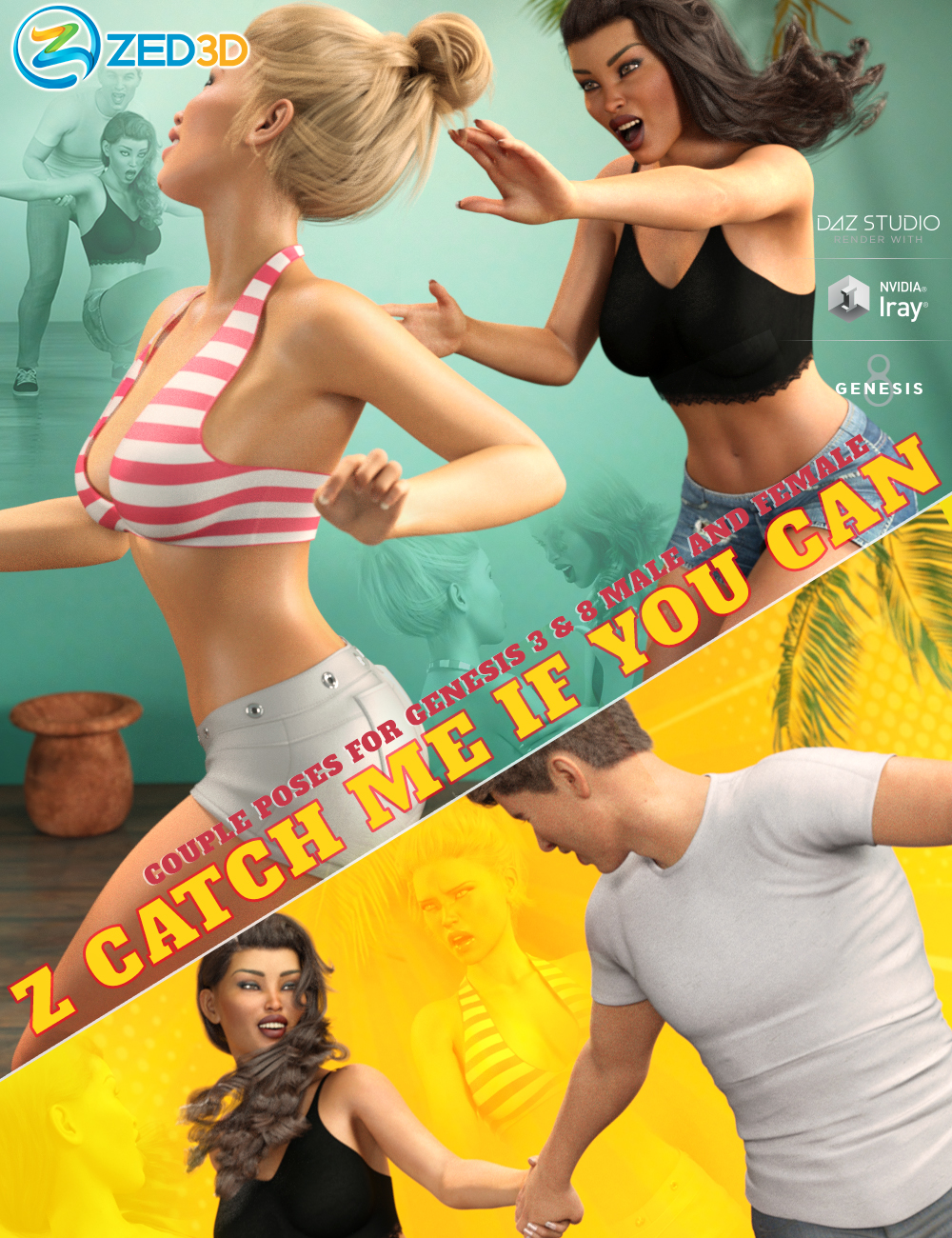 Z Catch Me If You Can Couple Poses for Genesis 3 and 8 by: Zeddicuss, 3D Models by Daz 3D