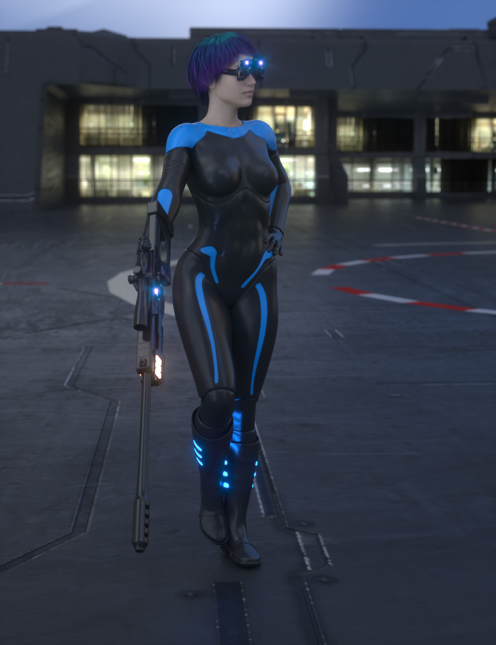 Sci-Fi Sniper Outfit For Genesis 8 Female by: AcharyaPolina, 3D Models by Daz 3D