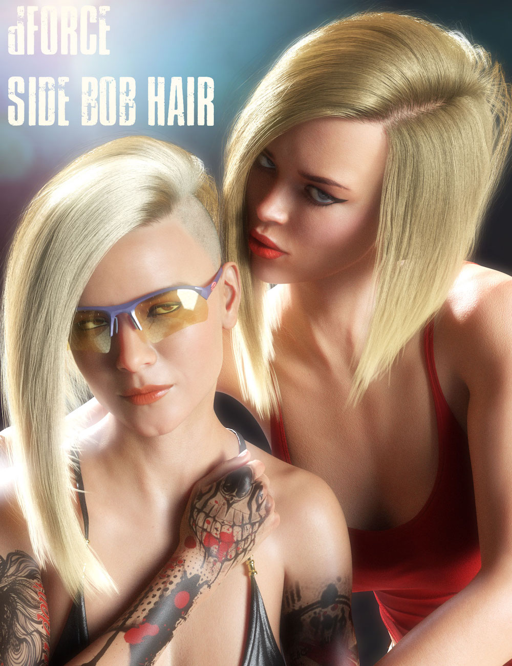 dForce Side Bob Hair for Genesis 8 Female(s) by: Linday, 3D Models by Daz 3D