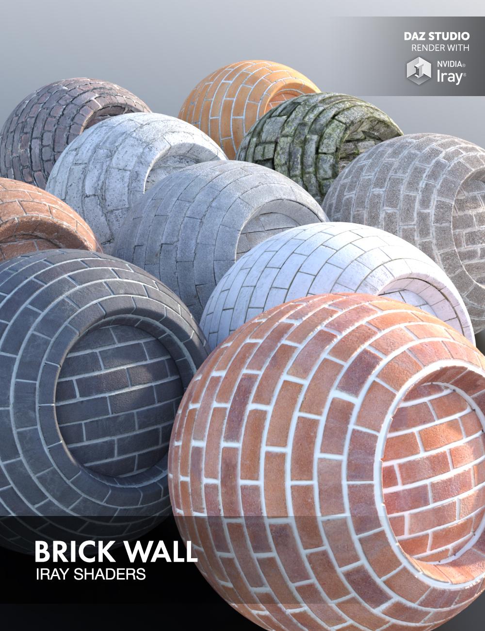 Brick Wall - Iray Shaders by: Dimidrol, 3D Models by Daz 3D