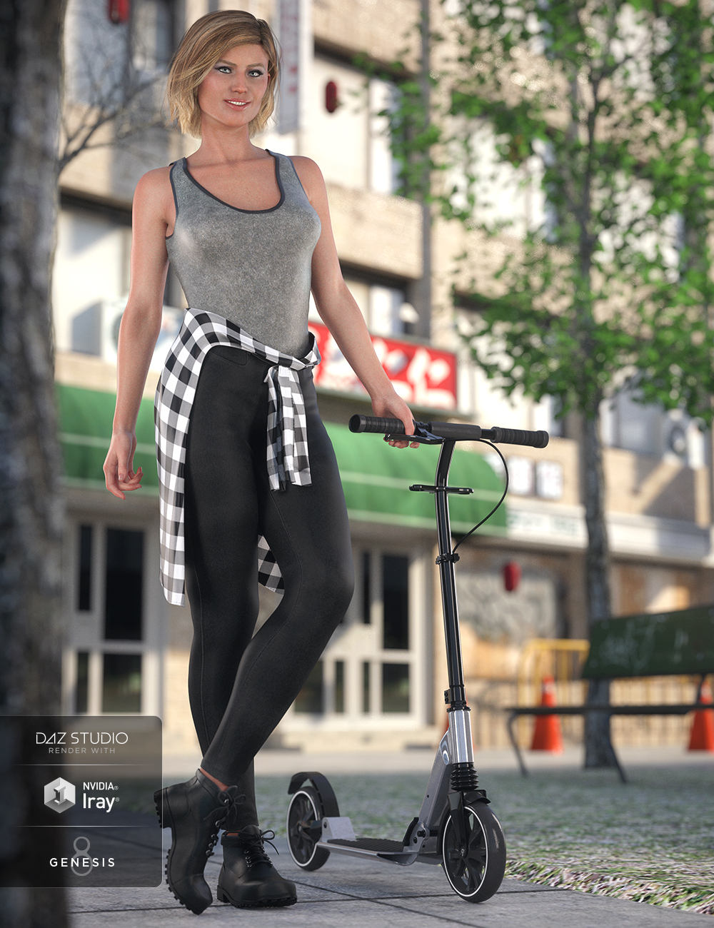 dForce Urban Casual Outfit for Genesis 8 Female(s) by: Barbara BrundonDestinysGardenUmblefugly, 3D Models by Daz 3D