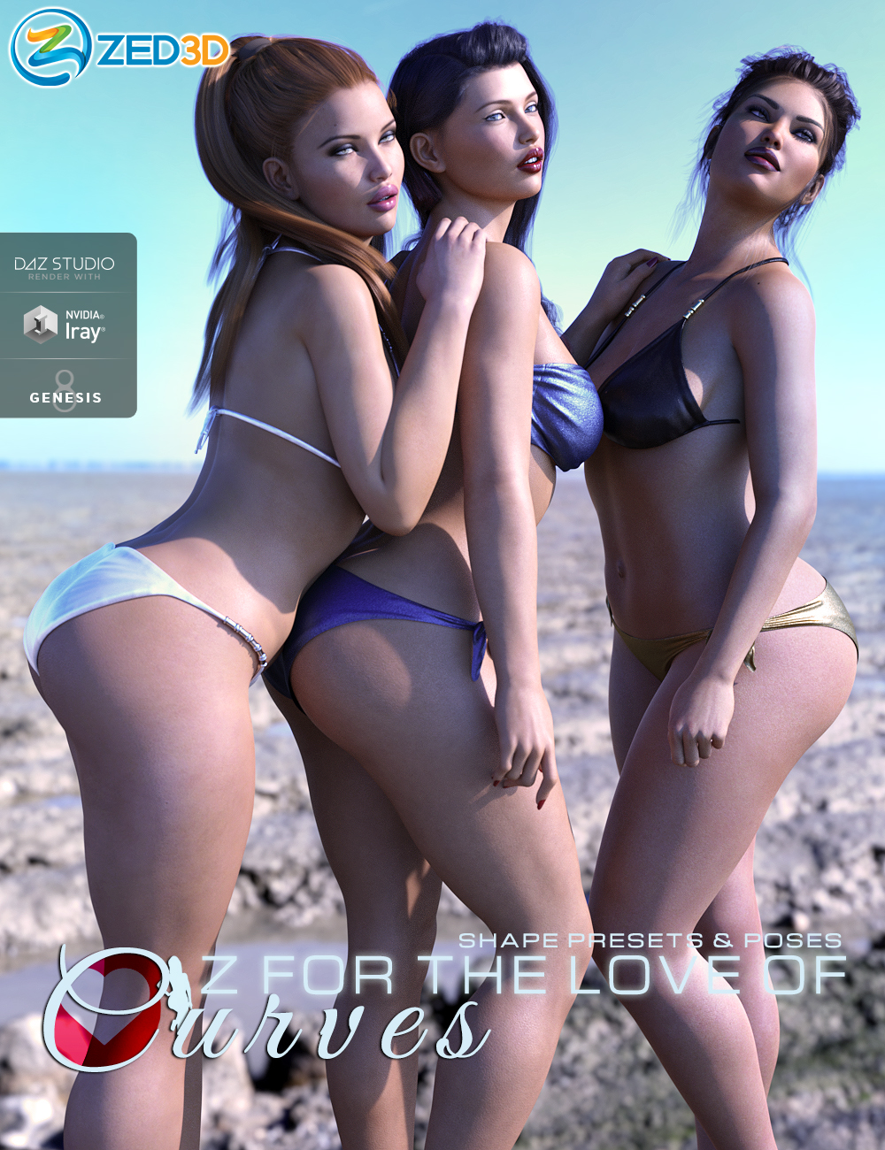Z For the Love of Curves Shapes and Poses by: Zeddicuss, 3D Models by Daz 3D