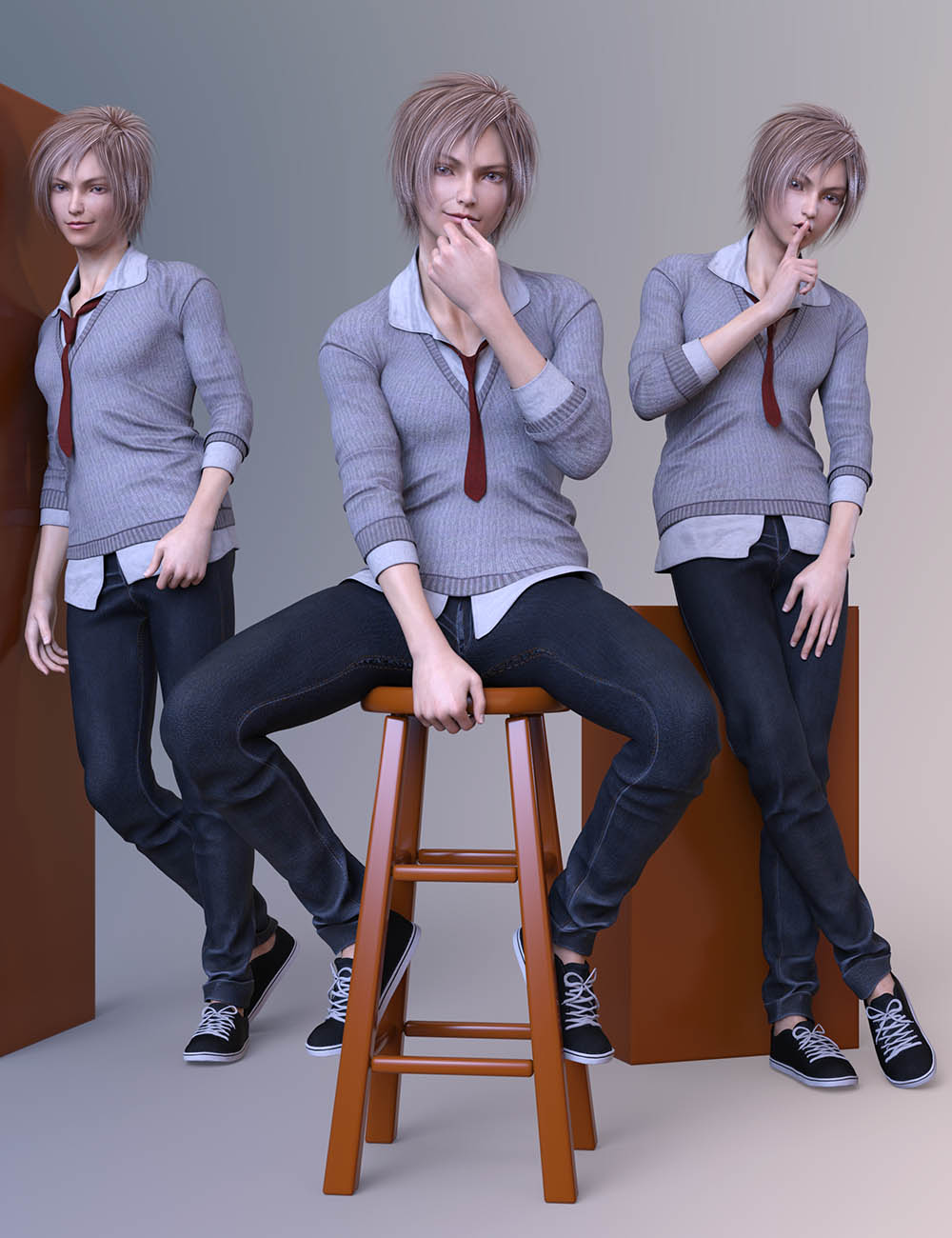 CDI Poses for Yuzuru 8 and Genesis 8 Male by: Capsces Digital Ink, 3D Models by Daz 3D