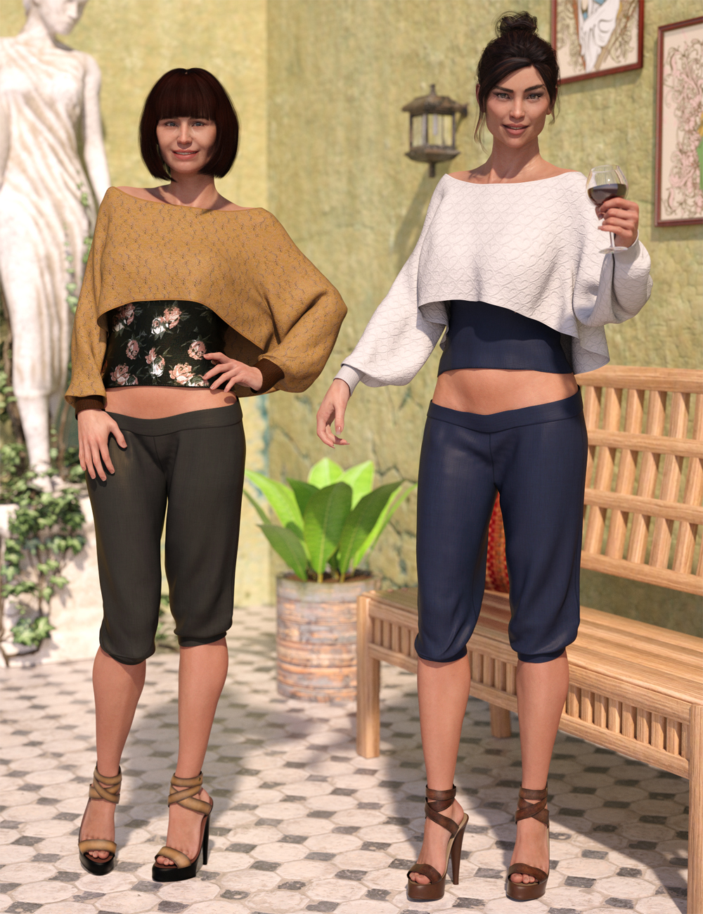 dForce Casual Chic Outfit Textures by: Sarsa, 3D Models by Daz 3D