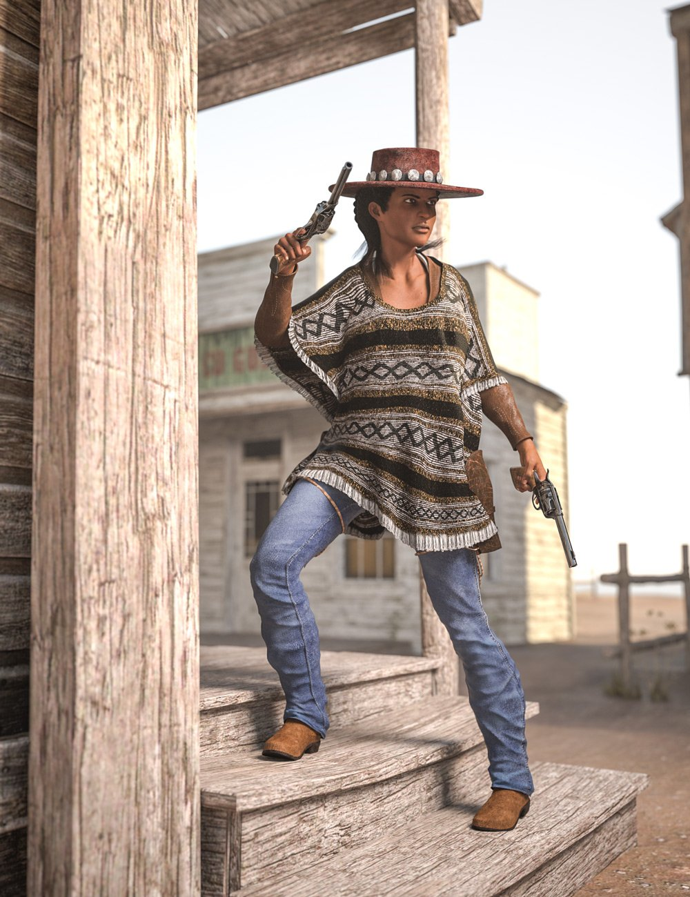 Dusty HD Cowgirl Outfit for Genesis 8 Female(s) by: Sixus1 Media, 3D Models by Daz 3D