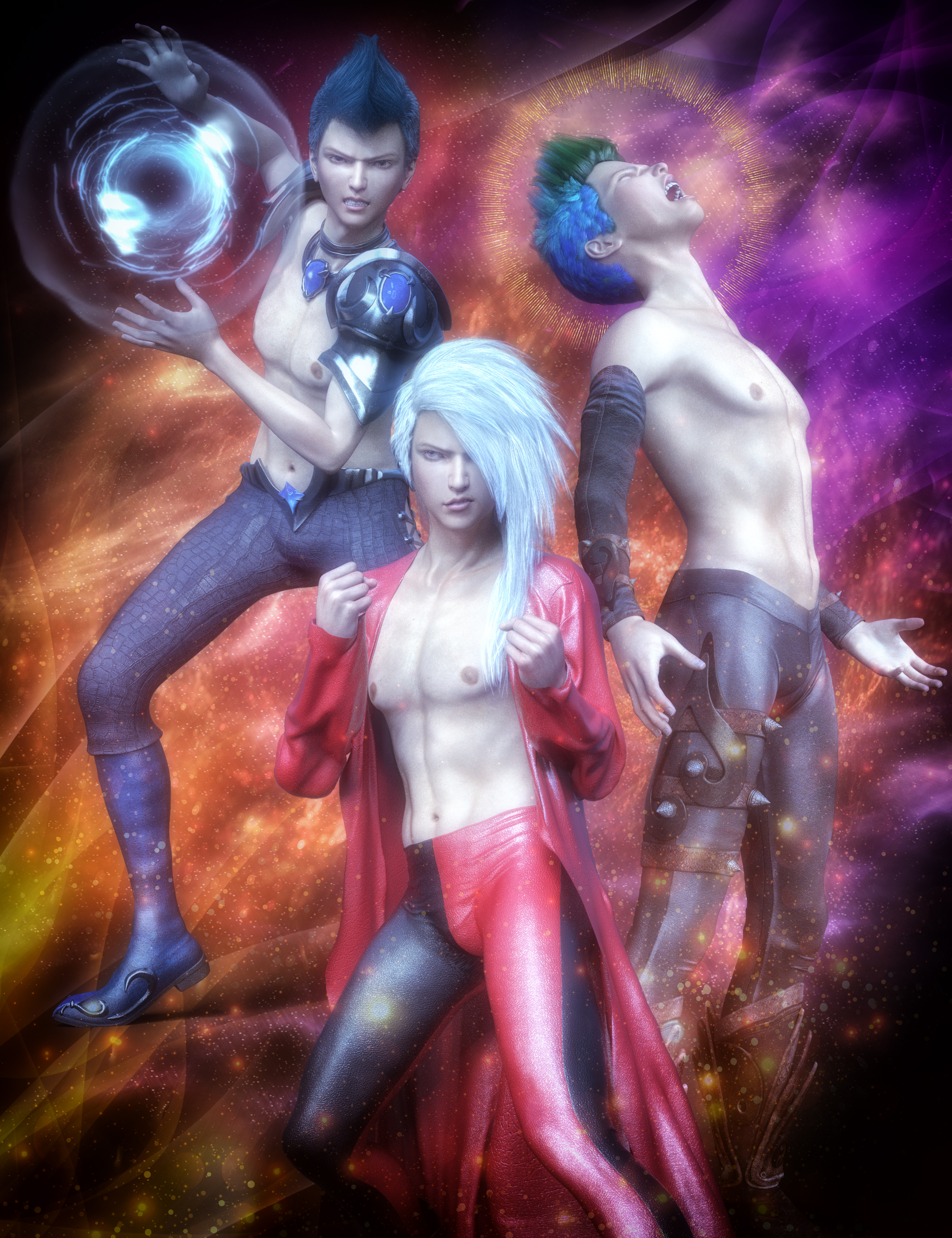 Anime Action Poses for Yuzuru 8 and Genesis 8 Males by: Skyewolf, 3D Models by Daz 3D