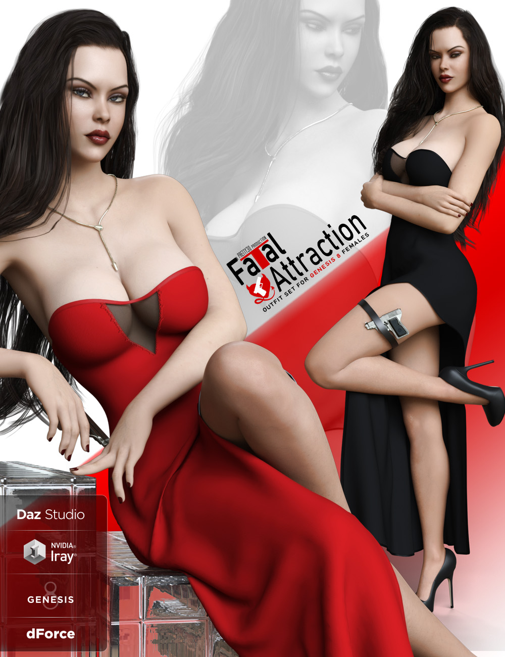 dForce Fatal Attraction Outfit Set for Genesis 8 Female(s) by: Pretty3D, 3D Models by Daz 3D