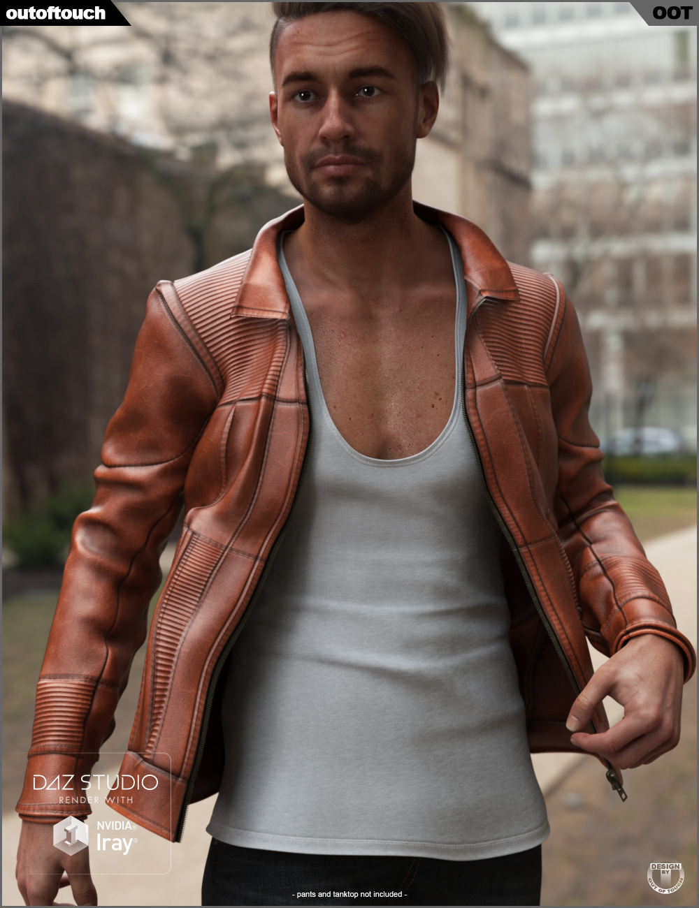 Vintage Leather Jacket for Genesis 8 Male(s) by: outoftouch, 3D Models by Daz 3D