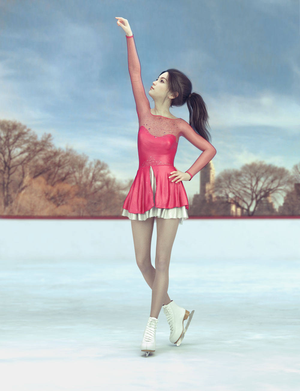 dForce Ice Skating Princess Outfit and Rink for Genesis 8 Female(s) by: Hypertaf, 3D Models by Daz 3D