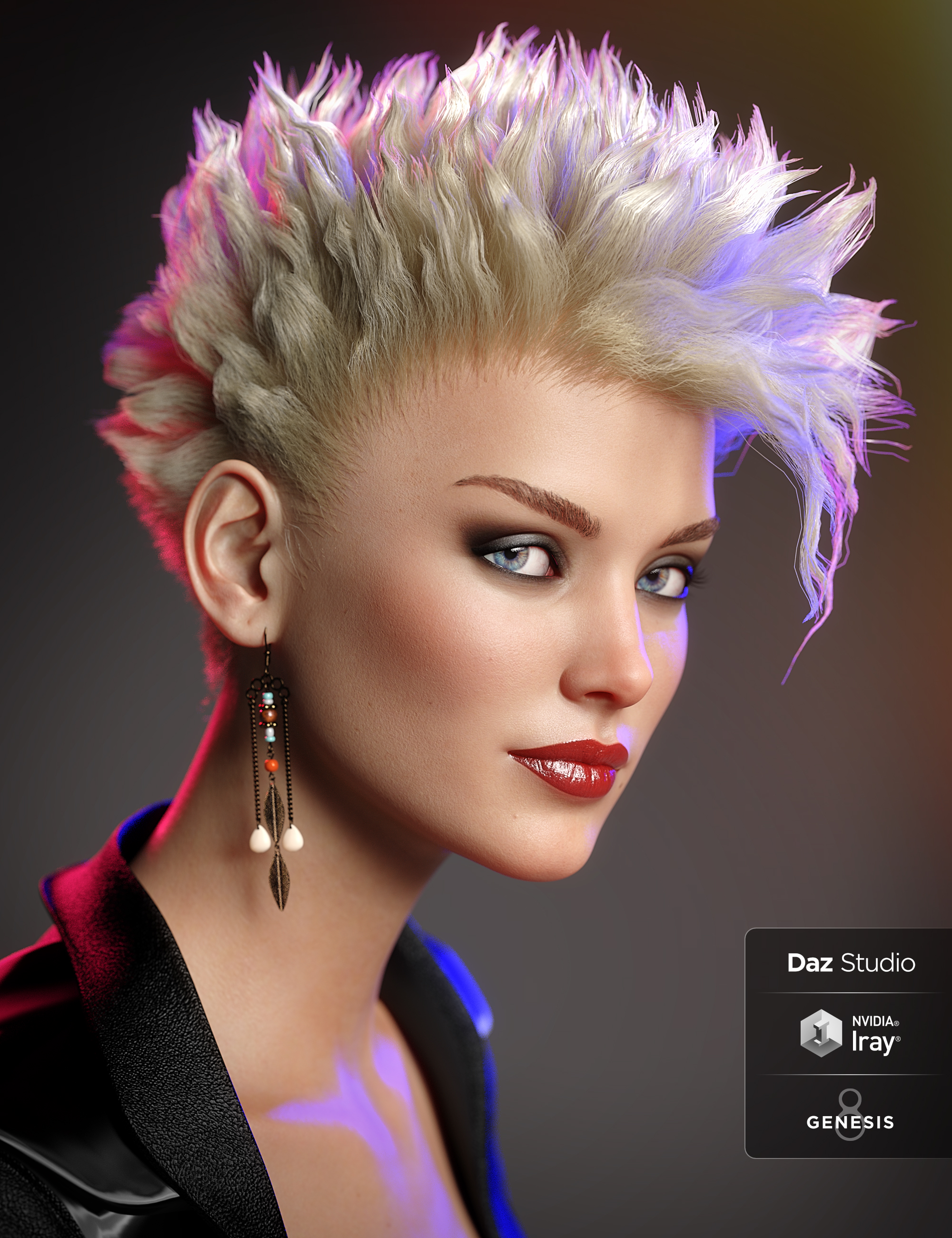dForce C1 Spiky Hair for Genesis 3 and 8 by: Cake One, 3D Models by Daz 3D