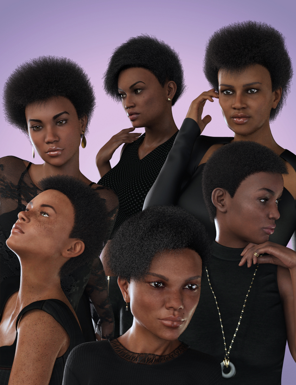dForce Afro Styles Hair for Genesis 8 Female(s) by: 3Diva, 3D Models by Daz 3D
