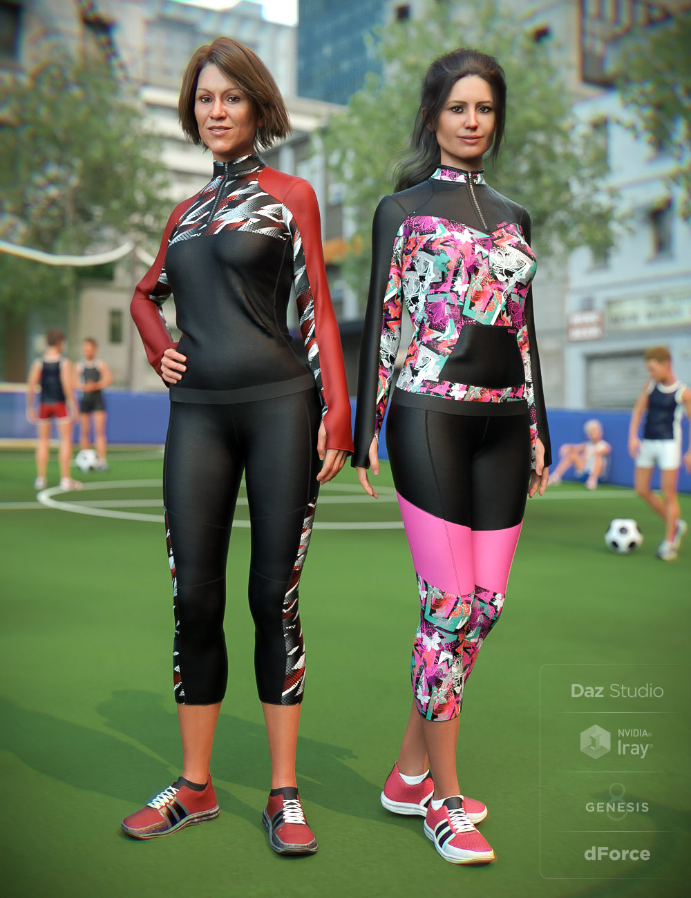 dForce Soccer Mom Outfit Textures by: Moonscape GraphicsSade, 3D Models by Daz 3D