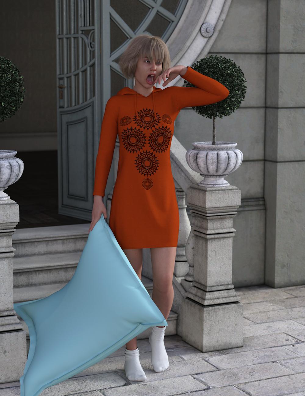 dForce Hoody Dress for Genesis 8 Female(s) by: Aquarius, 3D Models by Daz 3D