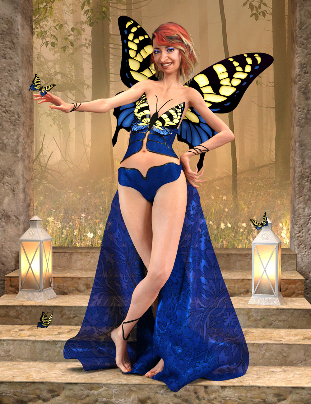 dForce Butterfly Outfit for Genesis 8 Female(s) by: Anna BenjaminNikisatez, 3D Models by Daz 3D