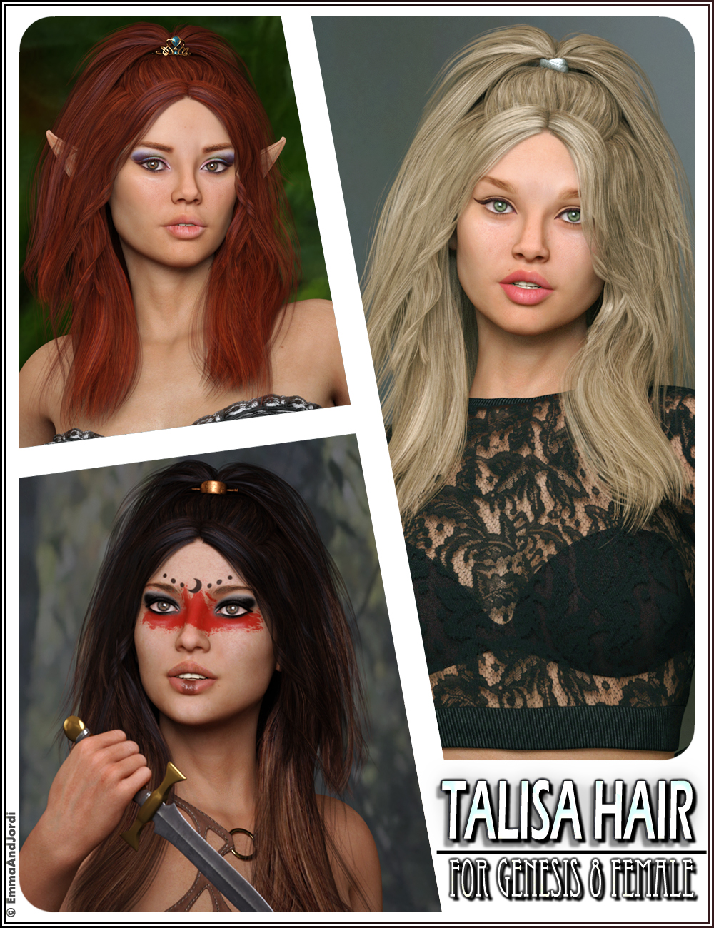 Talisa Hair for Genesis 8 Female(s) by: EmmaAndJordi, 3D Models by Daz 3D