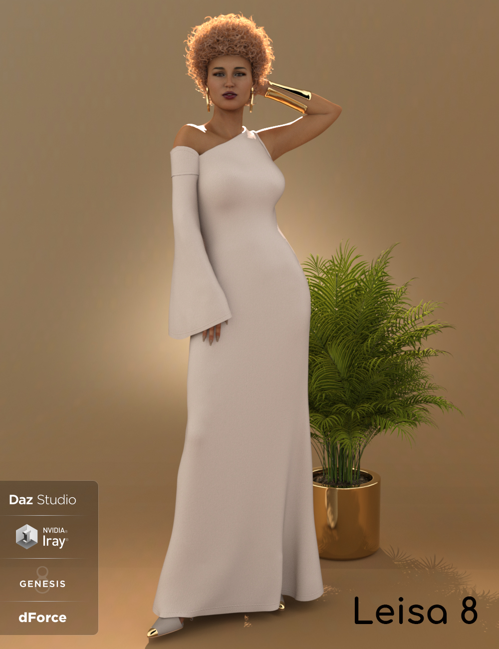 dForce One Sleeve Dress for Leisa 8 and Genesis 8 Female(s) by: 3DStyle, 3D Models by Daz 3D