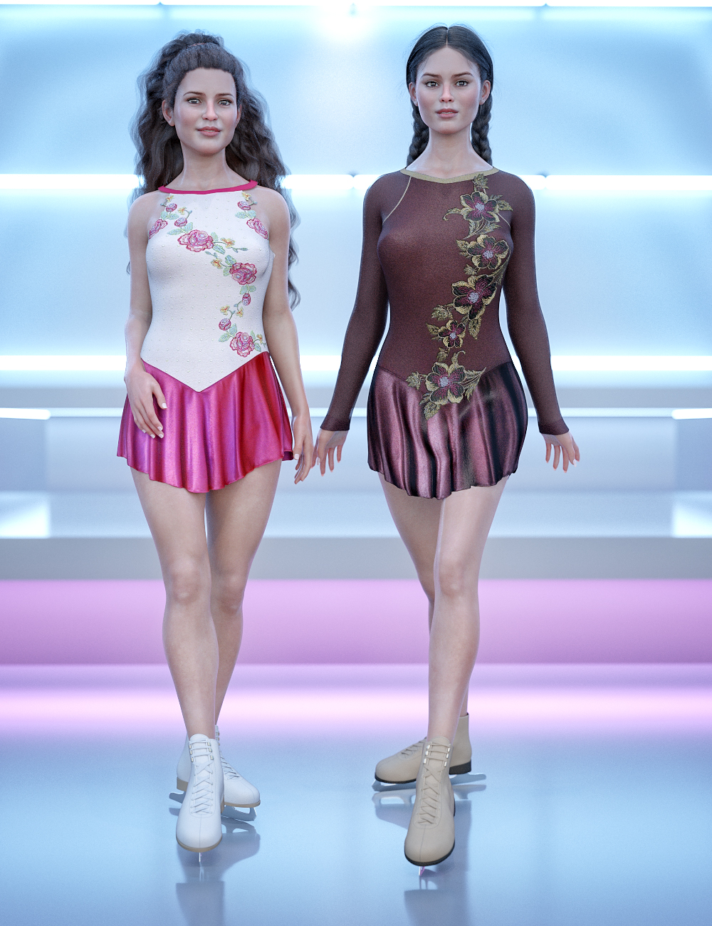 dForce Figure Skater Outfit Textures by: Sarsa, 3D Models by Daz 3D