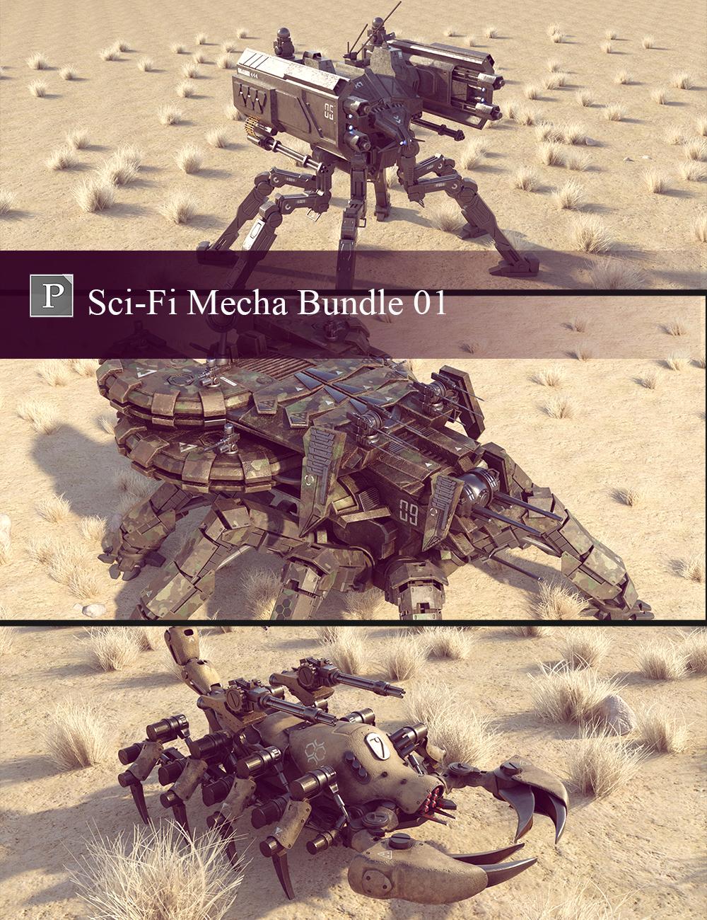 Sci-Fi Mecha Bundle 01 by: Polish, 3D Models by Daz 3D