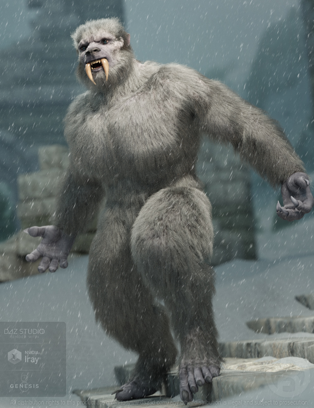 Snow Beast with dForce Hair for Genesis 8 Male by: RawArt, 3D Models by Daz 3D