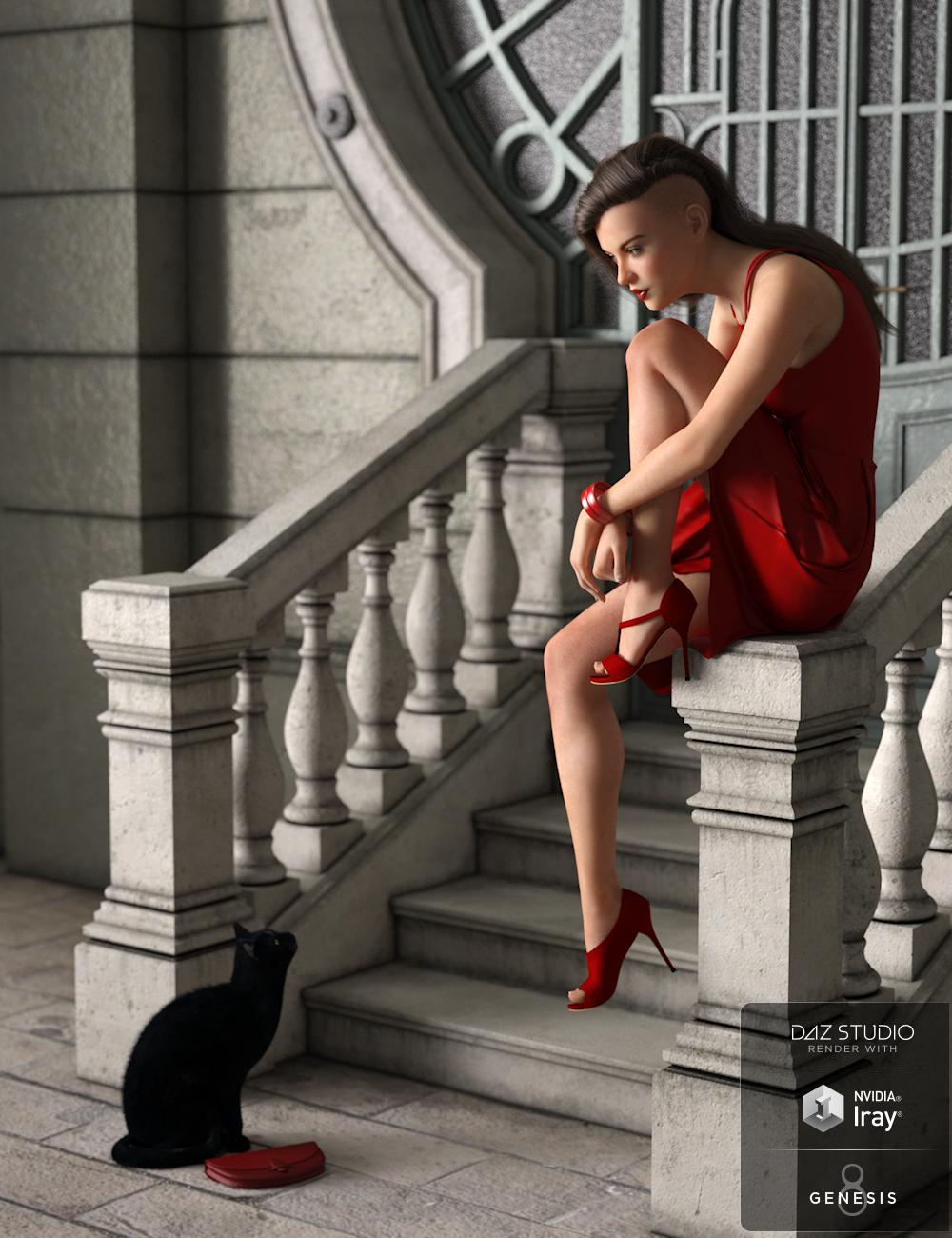 dForce Red Dress for Genesis 8 Female(s) by: AquariusImmersive-DreamWorld, 3D Models by Daz 3D