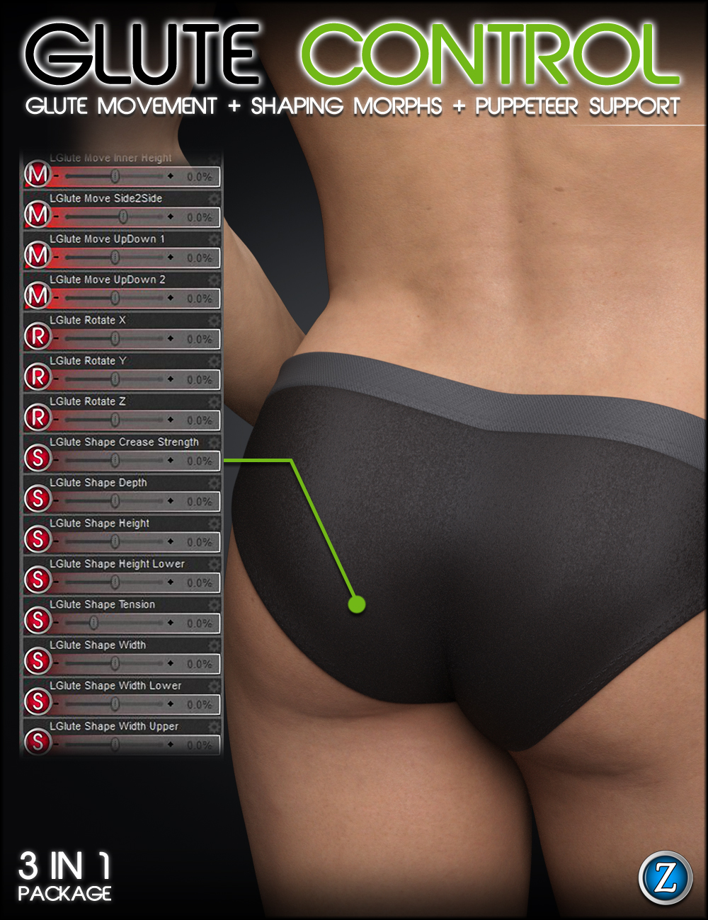 Glute Control for Genesis 3 and 8 Male(s) by: Zev0, 3D Models by Daz 3D