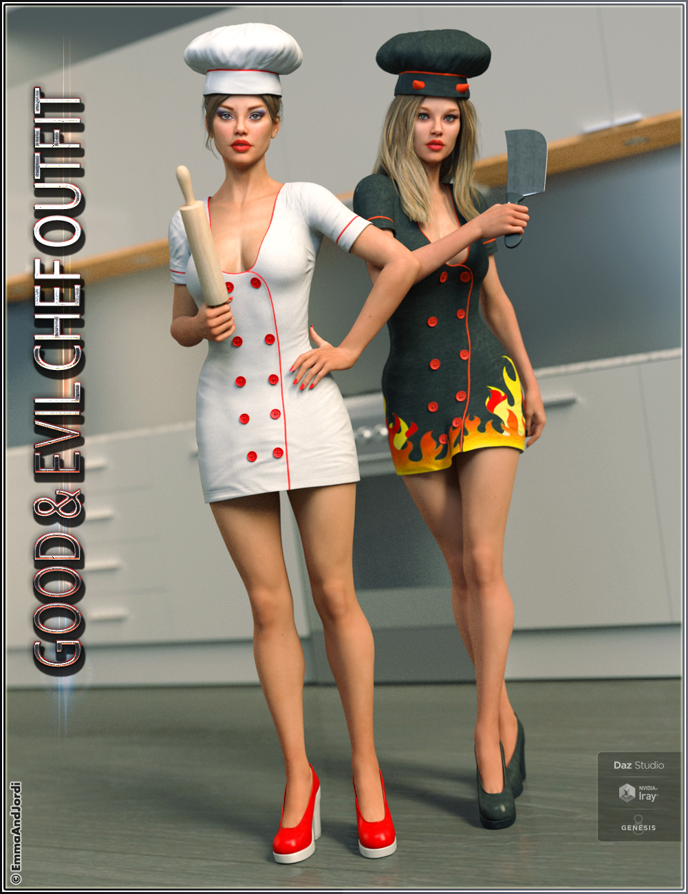 Good and Evil Chef Outfit And Poses For Genesis 8 Female(s) by: EmmaAndJordi, 3D Models by Daz 3D