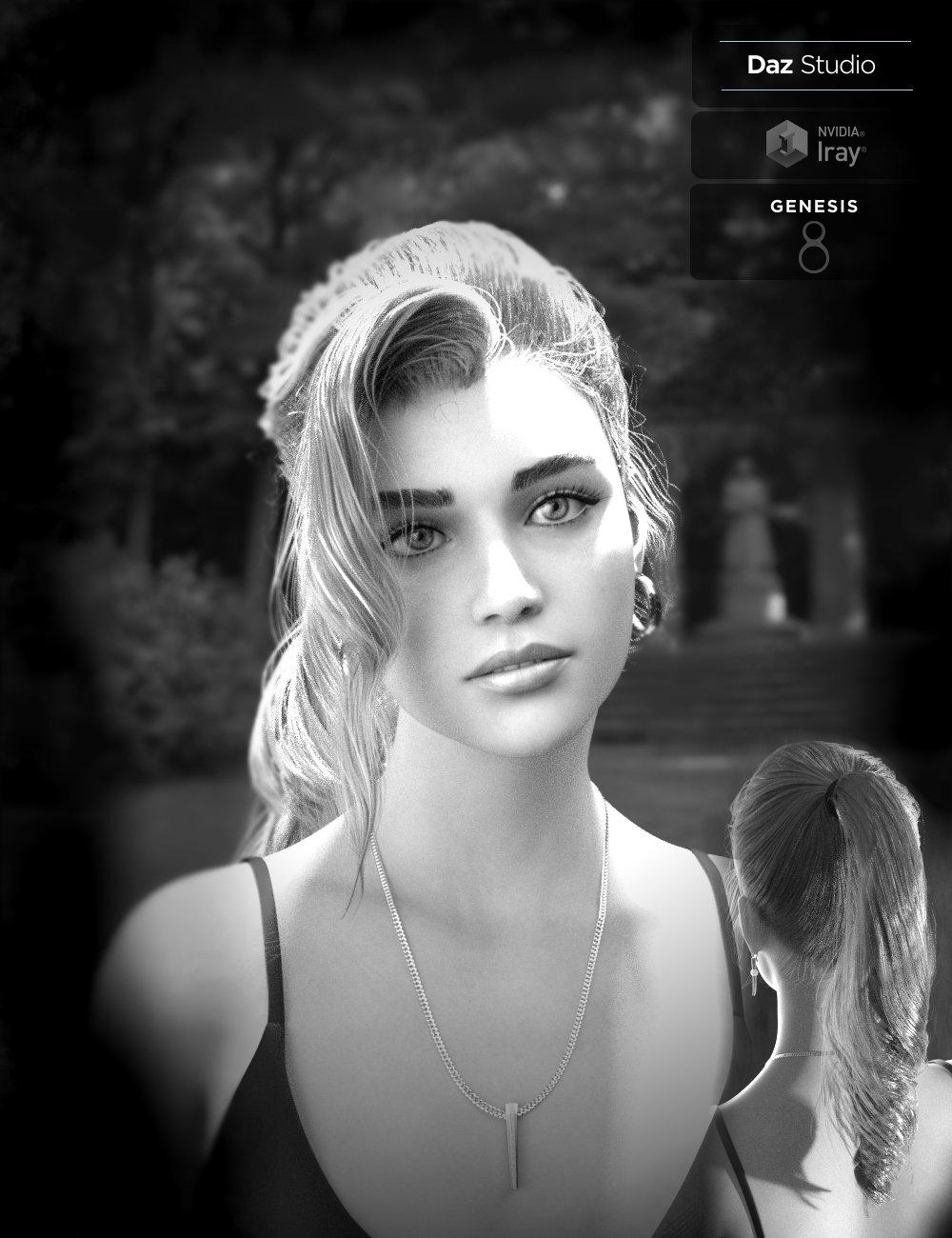 Alyssa PonyTail Hair for Genesis 8 Female(s) by: Neftis3D, 3D Models by Daz 3D